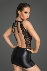 Wetlook and Lace Mini Dress with Open Back - Rebelious by...