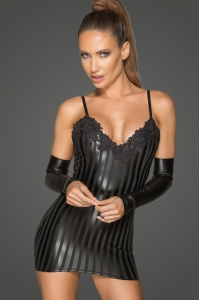 Striped Wetlook and Embroidery Mini Dress - Rebelious by...