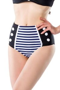Lynn Vintage Bikini Panty in Black/White/Blue stripe